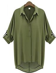 Damen Solide Einfach Ausgehen T-shirt,Rundhalsausschnitt ½ Länge Ärmel Seide