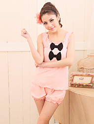 Women's Sleepwear Set Two Sweet Bows Falbala Sleeveless Cute Home Suit