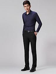 Homme simple Street Chic Chinoiserie Taille Normale non élastique Chino Pantalon,Droite Mince Couleur Pleine