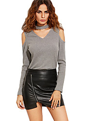 Women's Club Sexy Summer Pure Color  V-neck Strapless Long-sleeved Exposed Shoulders Shirt