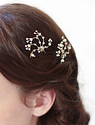 Nature Pearl Rhinestone Crystal Twigs Headpiece-Wedding Special Occasion Outdoor Hair Pin Hair Stick 1 Piece