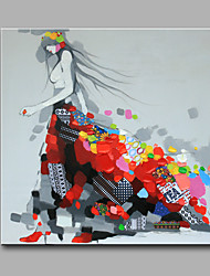 Modern Hand-Painted Abstract  Ready To Hang For Home Decorative  Wear Flowery Skirt A Girl