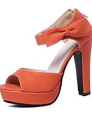 Femme Sandales Polyuréthane Eté Gros Talon Noir Orange Rose Amande 10 à 12 cm