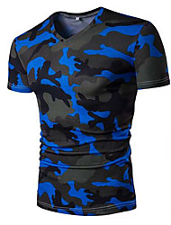 Herren Druck Einfach Lässig/Alltäglich T-shirt,V-Ausschnitt Kurzarm Kunstseide