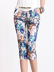 Femme Mignon Taille Haute Micro-élastique Sarouel Pantalon,Sarouel Fleur Plissé Effets superposés Imprimé