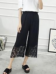 Feminino Simples Cintura Média Inelástico Perna larga Calças,Perna larga Sólido
