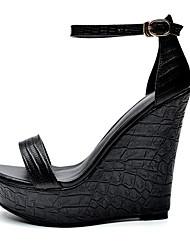 Damen Sandalen Freizeit Club-Schuhe Leder Sommer Kleid Party & Festivität Lässig/Alltäglich Freizeit Club-Schuhe Schnalle Keilabsatz