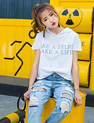 Damen Buchstabe Einfach Normal T-shirt,Mit Kapuze Sommer Kurzarm Baumwolle