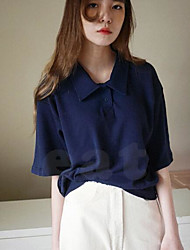 Women's Daily Simple Blouse,Solid Shirt Collar ½ Length Sleeve Polyester