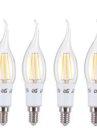 YouOKLight 4PCS E14 4W 350LM AC85-265V 4*COB LED Warm White 3000K Edison Candle Bulbs LED Filament Light