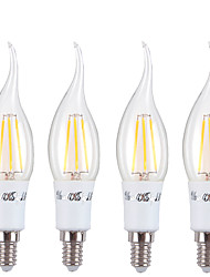 4W Luces LED en Vela C37 4 COB 350 lm Blanco Cálido AC 85-265 V