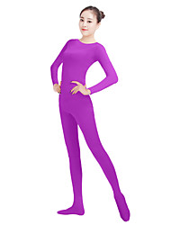 Unisex Lycra Spandex Unitard Round Neck Long Sleeves Full Foot Elastane Bodysuit Costume