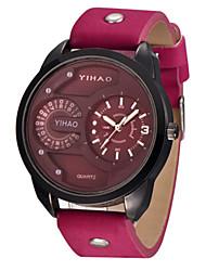 Men's Sport Watch Fashion Watch Quartz Leather Band Red