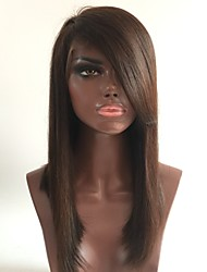New style straight front lace wigs with side bangs brazilian virgin hair 130% densidade médio marrom cor