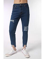 Homme simple Taille Normale non élastique Jeans Pantalon,Mince Toile de jean Couleur Pleine Rayé