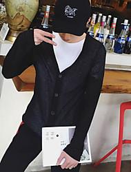Для мужчин Повседневные Обычный Кардиган Однотонный,V-образный вырез Длинный рукав Искусственный шёлк Лето Тонкая Неэластичная