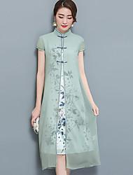 Для женщин На выход Большие размеры Шинуазери (китайский стиль) Из двух частей Платье Цветочный принт,Воротник-стойка Средней длиныС