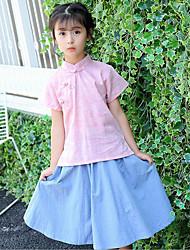Girls' Jacquard Sets,Cotton Summer Short Sleeve Clothing Set
