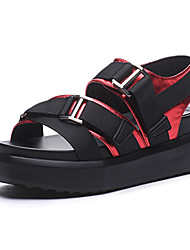 Damen Sandalen Creepers PU Sommer Outddor Lässig Creepers Rot Grün Champagner 5 - 7 cm