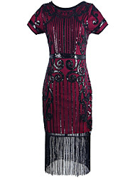 Feminino Tubinho Bainha Flapper Anos 20 Vestido,Para Noite Casual Festa/Coquetel Vintage Bordado Decote Redondo Altura dos JoelhosManga