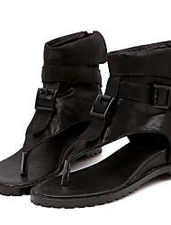 Women's Sandals Comfort Pigskin Spring Casual Comfort Khaki Black Flat