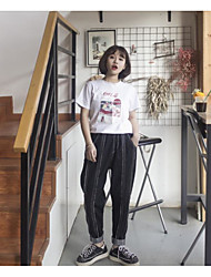Women's Mid Rise Micro-elastic Harem Pants,Simple Harem Plaid