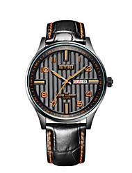 Men's Fashion Watch Wrist watch Quartz Calendar Leather Band Black