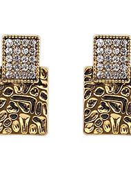 Euramerican Punk  Luxury Vintage Square Rhinestone Stud Earrings Lady Business Drop Earrings Statement Jewelry