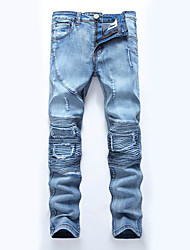 HOT! 28-42 Plus Size Men's High Elasticity hole patch ripped Slim Denim Jeans Pants Simple Straight Slim Ripped Solid Patchwork long trousers
