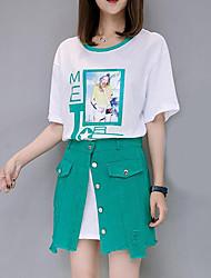 Для женщин Лето Как у футболки Юбки Костюмы Круглый вырез 1/2 Length Sleeve