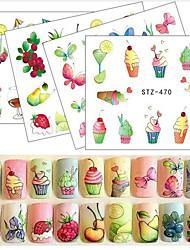 20pcs/set Summer Hot Fashion Fruit DIY Decoration Nail Art Water Transfer Decals Lovely Fruit Drink Ice Cream Flower Butterfly Design STZ470-473