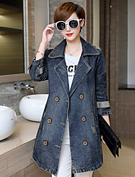 Women's Going out Casual/Daily Sexy Cute Spring Fall Trench Coat,Solid Shawl Lapel Long Sleeve Long Cotton