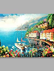 Peint à la main Paysages Abstraits Format Horizontal,Contemporain Abstrait Un Panneau Toile Peinture à l'huile Hang-peint For Décoration