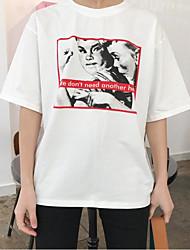 Damen Druck Retro Ausgehen T-shirt,Rundhalsausschnitt Sommer Kurzarm Baumwolle