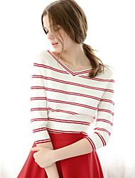 Tee-shirt Femme,Rayé Décontracté simple Manches ¾ Col en V Coton