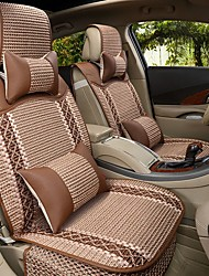 Car Seat Cushion Car Seat Cover Family Car Silk Leather 5 Seat Four Seasons General Coffee