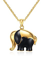 Жен. Ожерелья с подвесками Заявление ожерелья Геометрической формы В форме животных Слон Нержавеющая сталь Титановая сталь Позолота