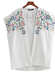 Women's Dailywear Pattern Summer Jacket,Embroidery V Neck Short Sleeve Regular Polyester