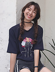 Damen Solide Einfach Normal T-shirt,Rundhalsausschnitt Kurzarm Baumwolle