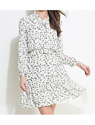 Women's Casual/Daily Loose Dress,Floral V Neck Above Knee Long Sleeve Linen Spring Mid Rise Inelastic Thin