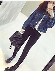 Feminino Jaqueta jeans Tecido Oxford Colarinho de Camisa Manga Longa Vazado