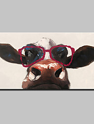 Hand Painted Wear Glasses Of Cattle Animal Oil Painting On Canvas Modern Abstract Wall Art Picture For Home Decoration Ready To Hang
