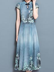 Для женщин На выход На каждый день Винтаж Шинуазери (китайский стиль) Изысканный Оболочка Платье С принтом,Вырез под горло Средней длиныС