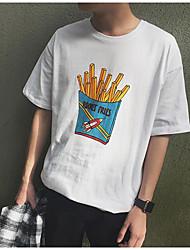 Herren Muster Einfach Normal T-shirt,Rundhalsausschnitt Sommer Kurzarm Baumwolle