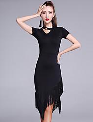 Latein-Tanz Kleider Damen Milchfieber 2 Stück Kurze Ärmel Normal Kleider Unterhose