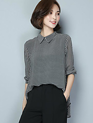Women's Daily Simple Shirt,Striped Shirt Collar Long Sleeve Polyester