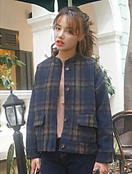 Women's Daily Casual Casual Winter Jacket,Striped Stand Long Sleeve Short Cotton