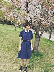 Для женщин На каждый день Весна Рубашка Юбки Костюмы Рубашечный воротник,просто Однотонный 1/2 Length Sleeve Слабоэластичная