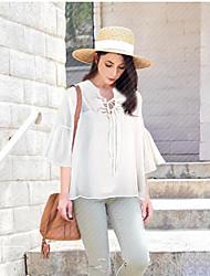 Damen Solide Einfach Hemd,V-Ausschnitt ¾-Arm Baumwolle