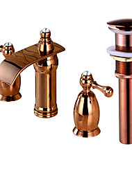 Widespread Waterfall with  Brass Valve Two Handles Three Holes for  Rose Gold , Bathroom Sink Faucet